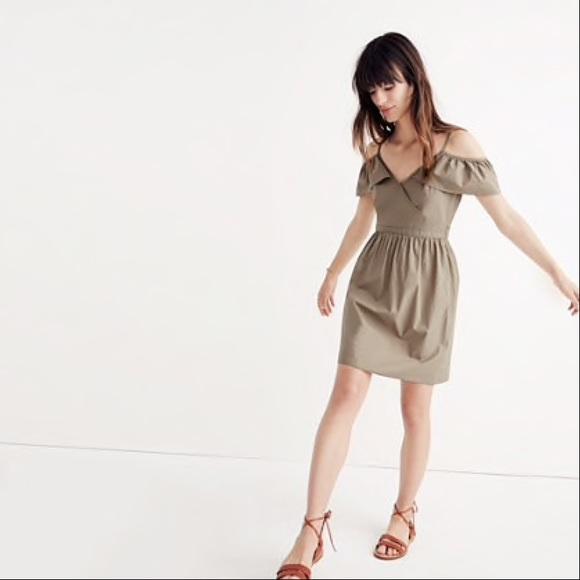 90b0ba92d18 Madewell Dresses   Skirts - Madewell Khaki Cold-Shoulder Ruffle Dress